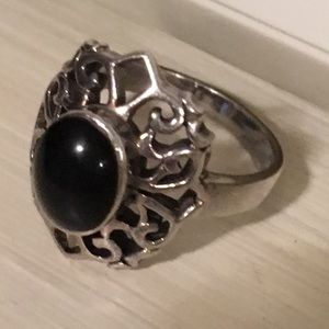 Sterling silver and hermatite ring